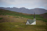 Icelandic church against beautiful surroundings