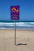 Warning signs along the beach, Durban