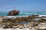 Shipwreck along Cape Agulhas coastline