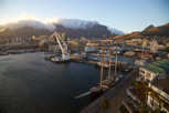 The V&A Waterfront and Table Mountain with table clothing at sunrise, Cape Town