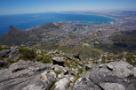 On top of the Table Mountain with beautiful views of Cape Town and its surroundings