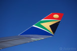 The beautiful livery and winglet of a South African Airways aircraft