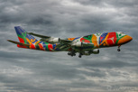 The special painted South African Airways Boeing 747-300 called Ndizani