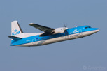 The dutch manufactured Fokker 50 in the colors of national airline of KLM Royal Dutch Airlines