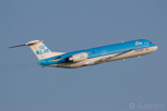 The dutch manufactured Fokker 100 in the colors of national airline of KLM Royal Dutch Airlines