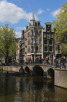 Canals and beautiful buildings in downtown Amsterdam