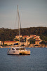 Catamaran during sunset, Hvar