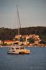 Catamaran during sunset, Hvar