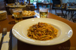 The traditional rabbit, Spaghetti biz-Zatza tal-Fenek, at Gululu restaurant in St Julian
