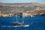 Sail ship infront of the Blue Lagoon, Comino