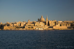 Valletta skyline during sunset as seen from Sliema, Malta