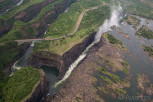 Aerial view of Victoria Falls and the border to Zambia
