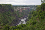 The Victoria Falls Bridge crosses the Zambezi River