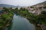 The Neretva river and Koski Mehmed Pasha Mosque as seen from Stari Most, Mostar