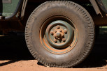 Safari jeep tyre closeup