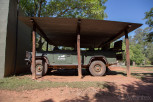 Safari jeep parked at Mlilwane Wildlife Sanctuary