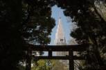 The NTT Docomo Yoyogi Building as seen from Yoyogi Park, Tokyo