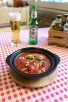 Local Korca meatballs and beer