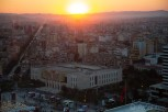 Sunset over Tirana and Skanderbeg Square