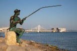 Fisherman statue at the beachwalk of Dürres downtown