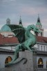 The Dragon Bridge and the cathedral (Church of St. Nicholas) in background, Ljubljana