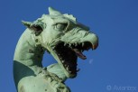 One of the Dragon statues at Dragon Bridge, Ljubljana