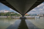 View from the underside of the SNP Bridge, Bratislava