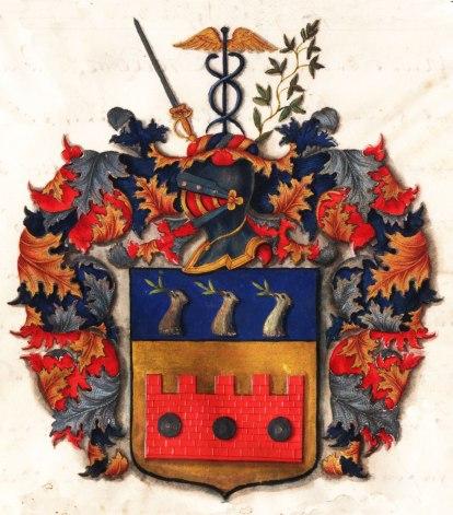 Johan Henrik Frisenheims vapensköld i sköldebrevet som finns på Riddarhuset i Stockholm,