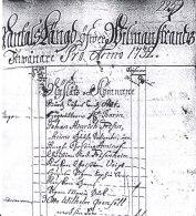 Första sidan av mantalslängden från Wilmanstrand 1732
