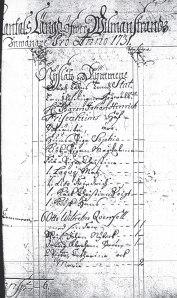 Första sidan från mantalslängden från Villmanstrand 1731
