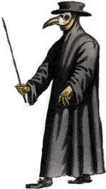 Pestdoktorn i fotsid kappa och en näbb fylld med örter mot stank och smitta.