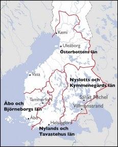 Finlands fyra län vid tiden för Frisenheims utnämning till landshövding: Nyslotts och Kymmenegårds län, Österbottens län, Nylands och Tavastehus län, samt Åbo och Björneborgs län.