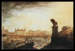 Bronslejonet vakar över slottsbygget. Från 1727 betalade Frisenheim, invånarna i hans län och folk runt om i det svenska riket en extra-skatt för att Slottet i Stockholm skulle kunna byggas färdigt.