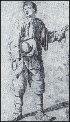 Den förordning som reglerade vilka kläder folk fick ha var sträng. Men för allmogen var reglerna knappast ett problem - de hade inte råd att klä sig lyxigt. Här en bondpojke tecknad av Jean Eric Rehn.