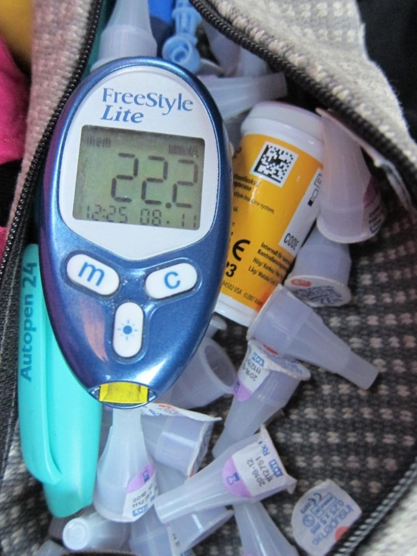 Några timmar senare och en extra dos insulin gav inte ett bättre resultat...