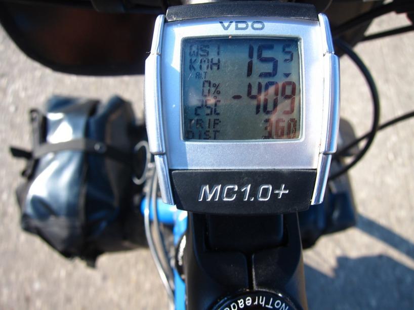 -409 betyder vår höjd jämfört med havsnivån! Här är vi på världens lägsta torra punkt!
