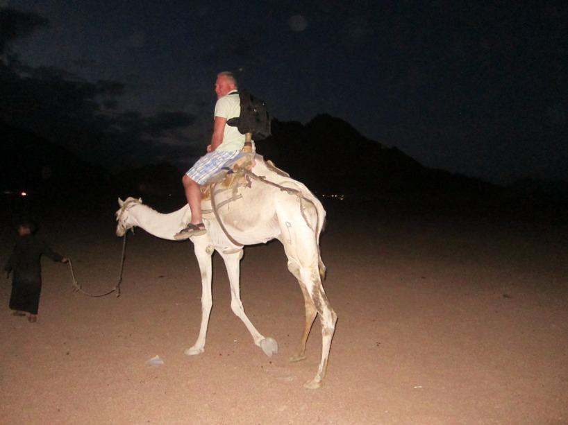 Pappa Ingemar tar sig en kameltur i öken-natten:)