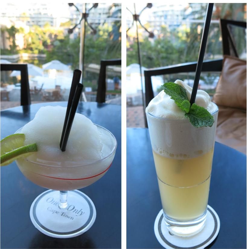 Lyxiga drinkar efter afternoon tea på fint hotell i Kapstaden