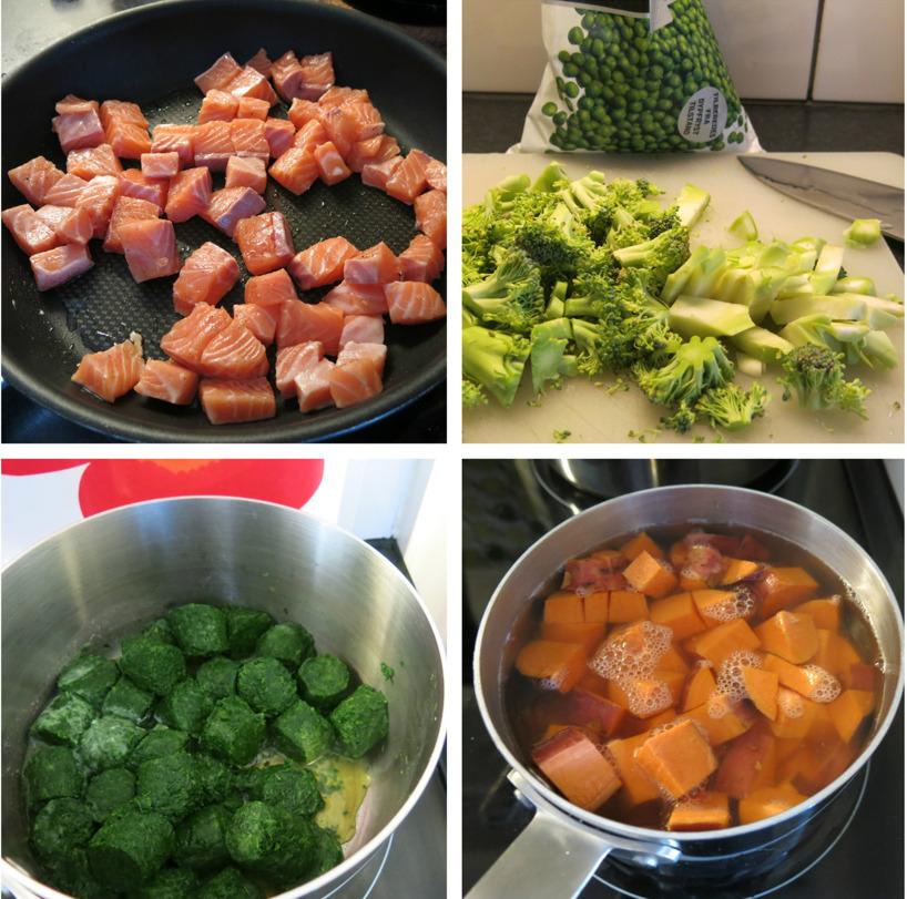 Stekt lax, broccoli och ärtor, kokt spenat och kokta sötpoatisbitar. Grönsaksblandningen kördes med stavmixer ihop med den färska persiljan och lite salt och peppar.