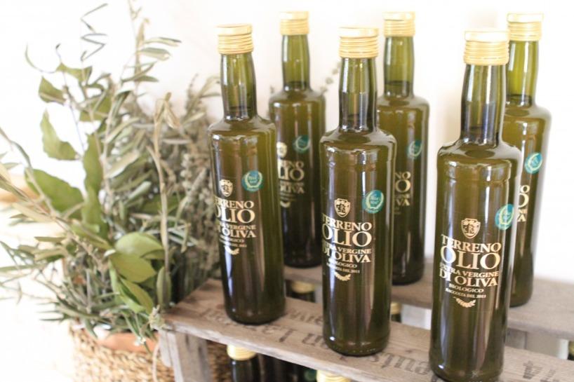 Terreno produceras också sin prisbelönta olivolja. Ett olivträd ger varje år ungefär 2 liter olja.