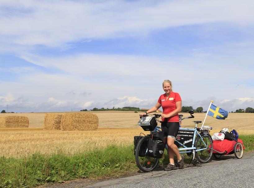 Danmark, (Augusti) - På den tiden hade vi en annan cykel och ett tungt släp!