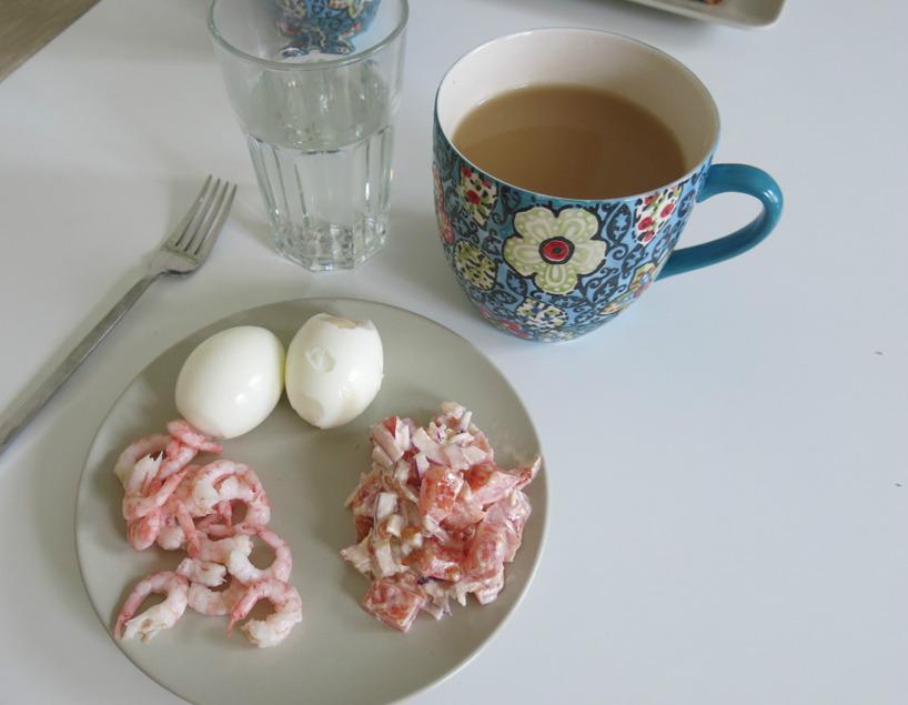 Kokta ägg, färska räkor och en lök och tomatsallad med 1tsk majonäs. Mums! Plus ett glas kokt, hett vatten och te.