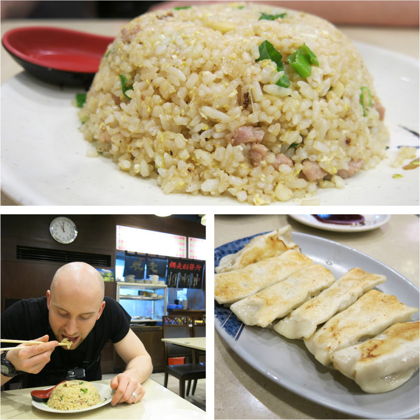 Ris med kött, och stekta dumplings fyllda med fläskkött! Namnam...