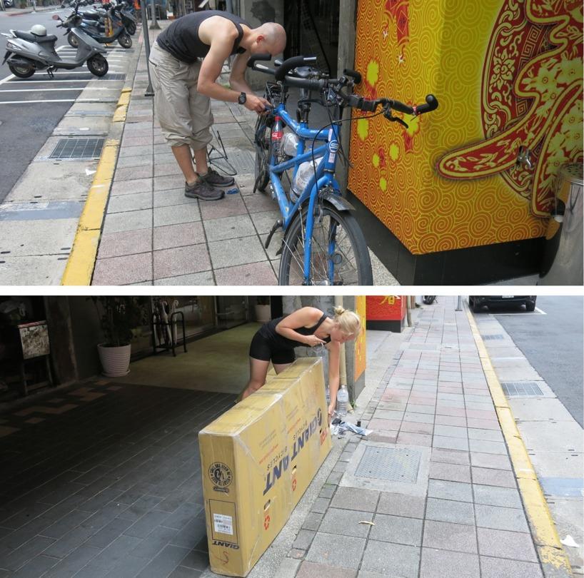 Smidigt som aldrig förr! 27kg väger cykeln med låda. Puh, inte mycket kg kvar till resten av packningen!