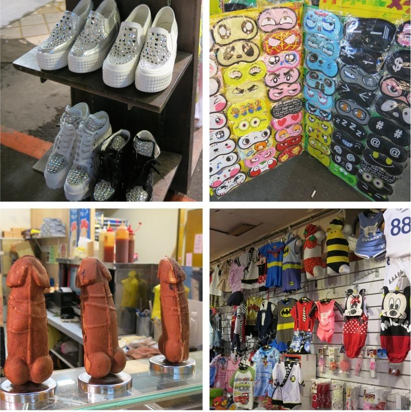 På nattmarknaden kunde man verkligen köpa det mesta. Glittriga platåskor, skojiga sovmasker, våffelsnoppar och roliga kostymer till bebisar. För att nämna några :)