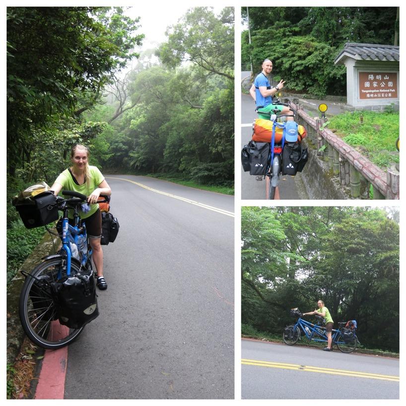 Klättring upp i Yangmingshan National Park norr om Taipei
