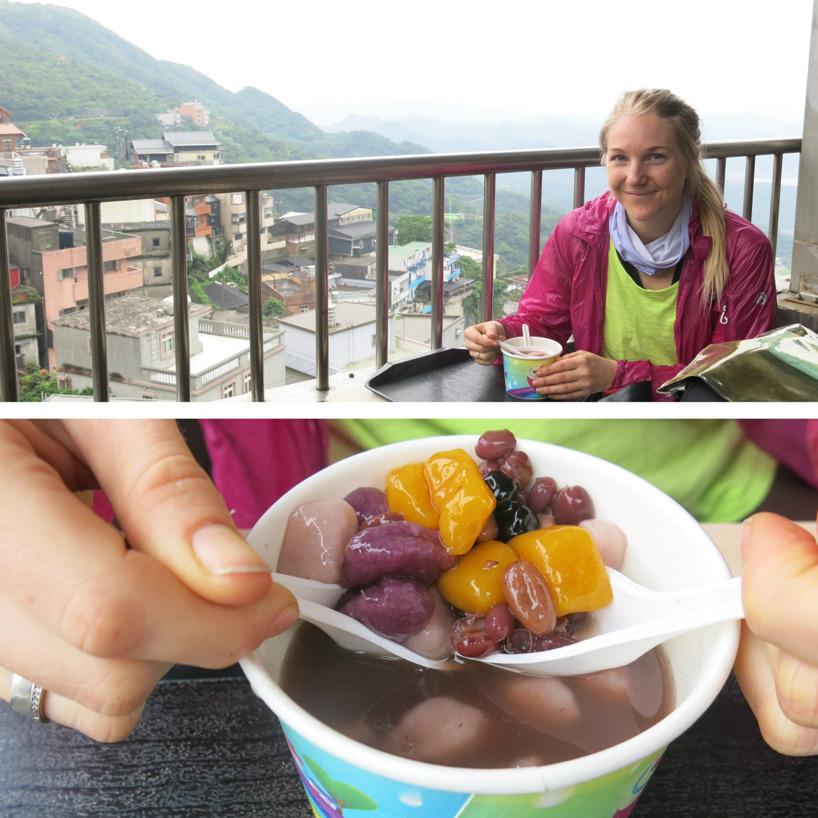 Prövade på Jiufens specialiteter - Taro balls gjorda av majsstärkelse