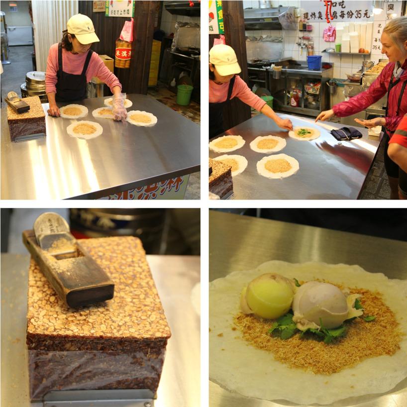 En slags tortilla med sötad rivna jordnötter med koriander och glass - konstig men god kombo!