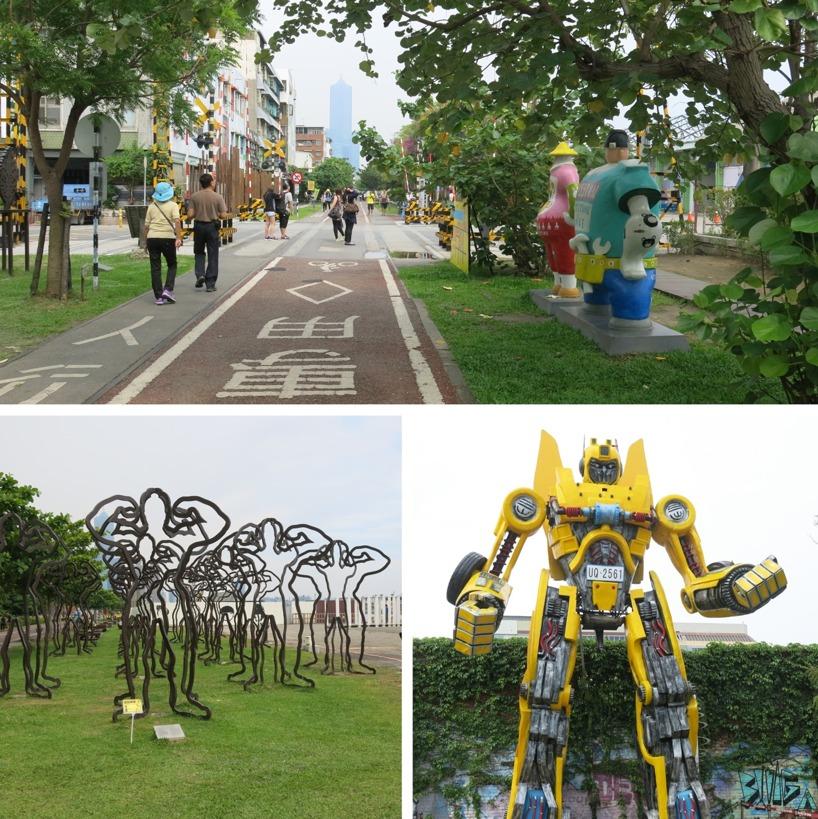 Promenad och cykelslingan runt Pier 2 Art i Kaohsiung. Mysigt!