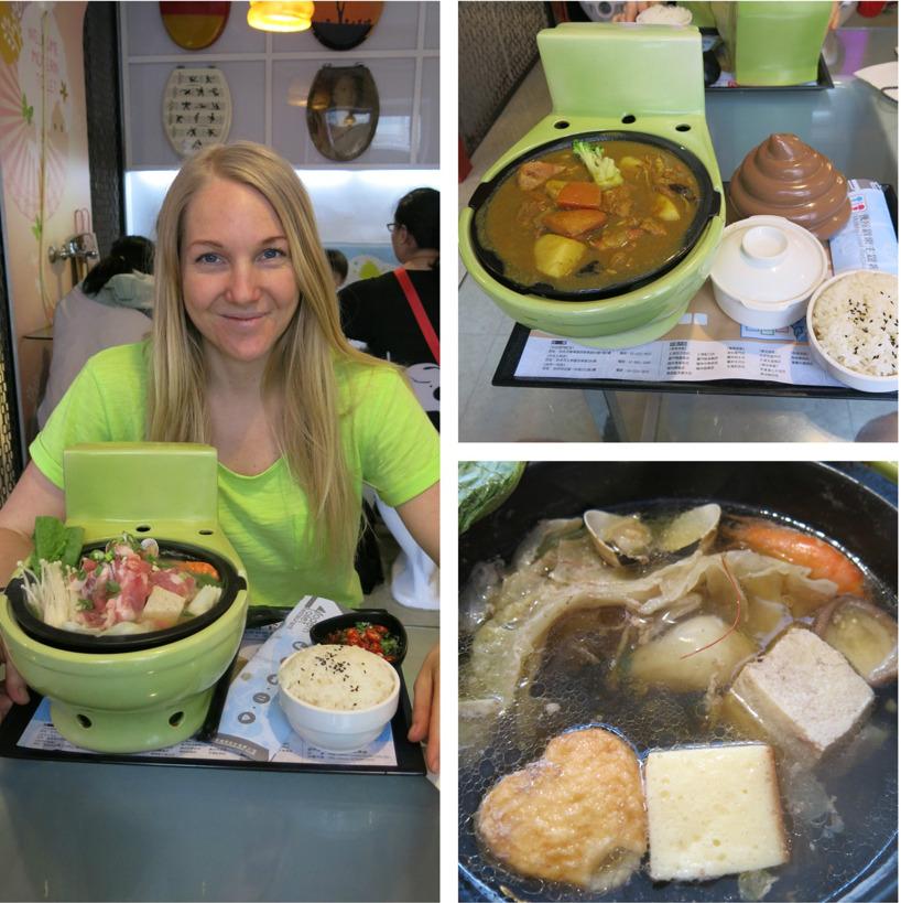 Rasmus åt chicken curry med ris. Sussie beställde en Hot Pot vilket innebar att hon fick en kokade toalett. Maten lagar sig själv i buljongen. Allt möjligt låg i dett dass. Räkor, musslor, fläsk, svampar, tofu, vilkål och andra konstiga saker med fisksmak.